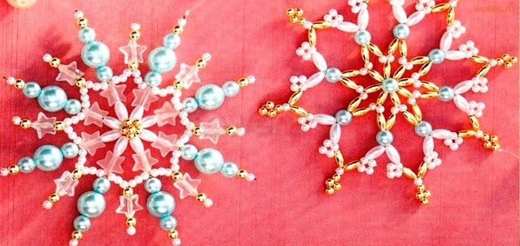 Плетение снежинок из бисера и стекляруса