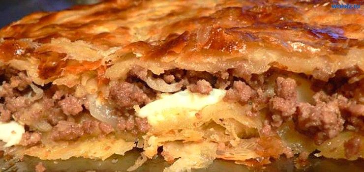 пирог с слоеного теста с мясом
